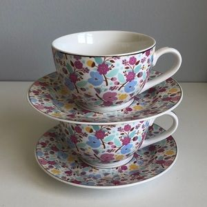 Grace's Teaware Floral Pattern Cup And Saucer Set